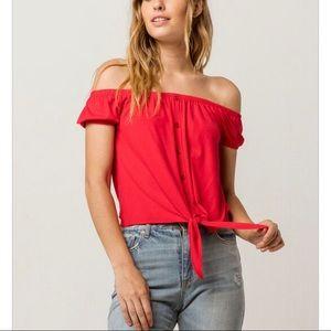 Tie front red women's off the shoulder top